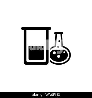 Chemical Laboratory Test Tube. Flat Vector Icon. Simple black symbol on white background - Stock Photo