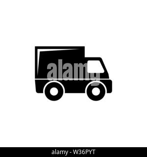 Delivery Truck. Flat Vector Icon illustration. Simple black symbol on white background. Delivery Truck sign design template for web and mobile UI elem - Stock Photo