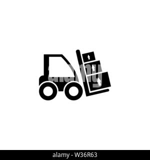 Forklift Loader. Flat Vector Icon illustration. Simple black symbol on white background. Forklift Loader sign design template for web and mobile UI el - Stock Photo