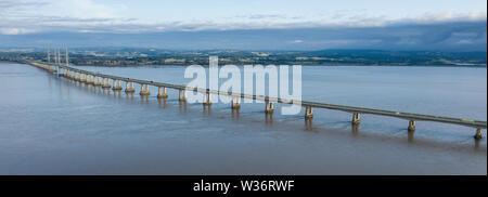 Aerial view of the Severn Bridge near Bristol, United Kingdom, - Stock Photo
