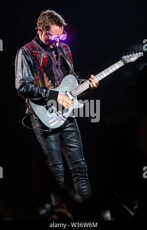 Milan Italy. 12 July 2019. The English rock band MUSE performs live on stage at Stadio San Siro during the 'Simulation Theory World Tour' - Stock Photo