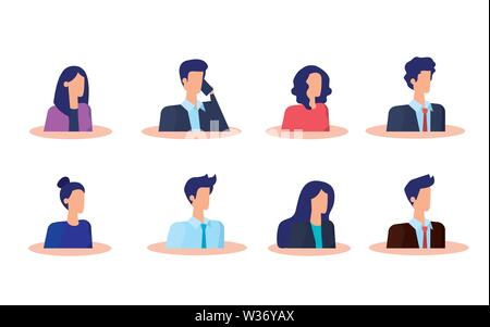 set of businesswomen and businessmen with elegant clothes - Stock Photo
