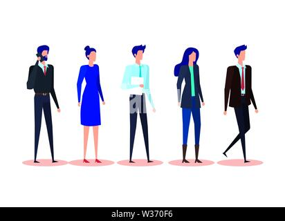 set of executive businesswomen and businessmen with document and smartphone - Stock Photo