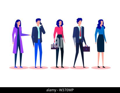 set professional businesswomen and businessmen with elegant clothes - Stock Photo