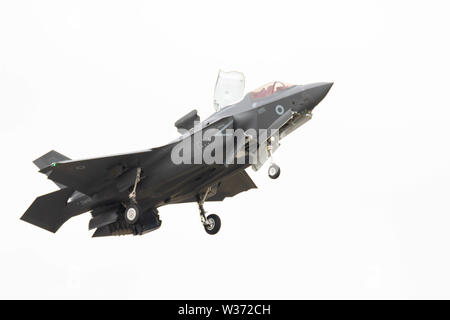 RNAS Yeovilton, Yeovilton, Somerset, UK. 13th July 2019 A F-35B Lightning from the joint RN / RAF 617 Sqadron made it first appearance at Yeovilton AIr Day. The aircraft will be flown from the Royal Navys New Carriers HMS Queen Elizabeth which becomes operational next year Credit: Photographing North/Alamy Live News - Stock Photo