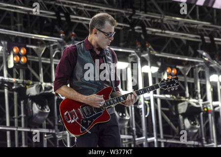 Rome, Italy. 12th July, 2019. The Italian guitarist Max Cottafavi performs on stage for Luciano Ligabue at the Stadio Olimpico in Rome for his 'Start Tour 2019'. Credit: Mariano Montella/Pacific Press/Alamy Live News - Stock Photo