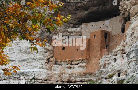 Autumn colors at the amazing ancient 12th century cliff dwellings of the Singua people at the Montezuma Castle National Monument near Sedona, Arizona, - Stock Photo