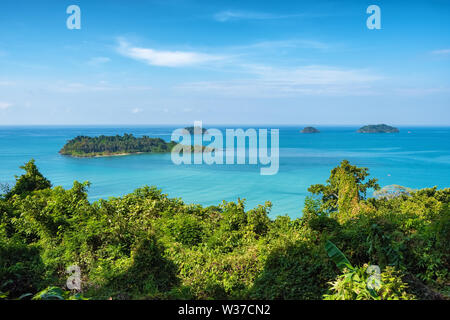 Beautiful tropical island landscape. View from Koh Chang to Koh Man Nai in Thailand