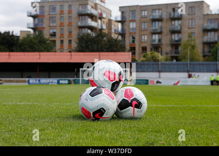 Richmond Park, Dublin, Ireland. 13th July, 2019. Pre season football friendly, St Patricks versus Chelsea; Practice balls wait for the players to take the field Credit: Action Plus Sports/Alamy Live News - Stock Photo