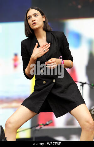 Nadine Shah performs on stage as Barclaycard present British Summer Time Hyde Park on Saturday 13th July 2019 in London, England. - Stock Photo