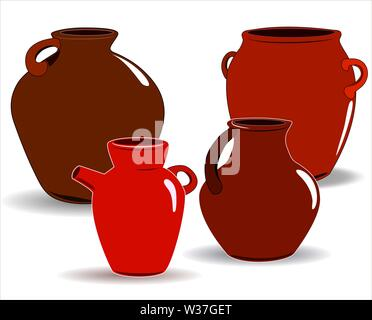Pot. A set of pottery. Ethnic ceramics with ornament. Pottery. ceramic. - Stock Photo