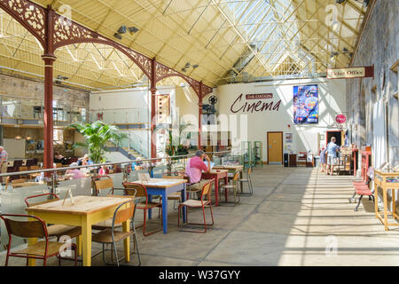 Interior of  the Station Richmond North Yorkshire a Victorian railway building now an art gallery and exhibition space, café  bar and cinema, - Stock Photo