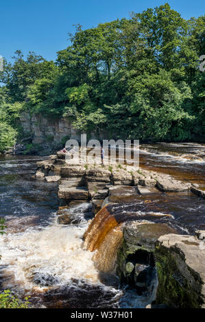 River Swale waterfalls in Richmond North Yorkshire - Stock Photo