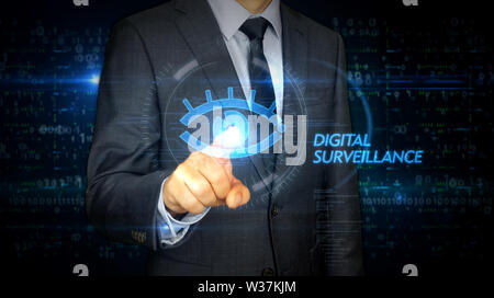 A businessman in a suit and screen with cyber eye hologram. Man using hand on virtual display interface. Digital surveillance, spying, hacking and vio