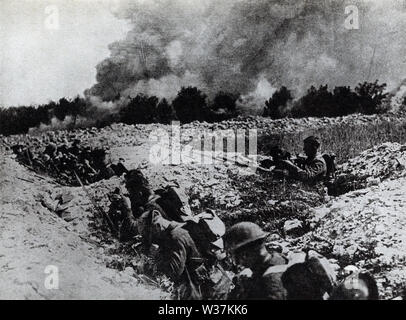The caption on this photo that dates to the early 1920s reads: Americans in shell holes in No Man's Land preparing for the gas waves coming toward them. - Stock Photo