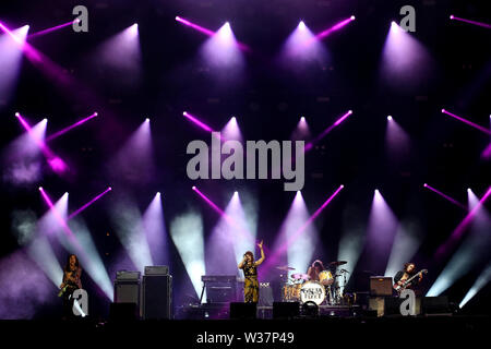 Lisbon, Portugal. 12th July, 2019. American band 'Greta Van Fleet' performs during the second day of the NOS Alive 2019 music festival in Lisbon, Portugal, July 12, 2019. Credit: Petro Fiuza/Xinhua/Alamy Live News - Stock Photo