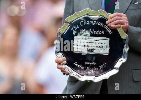 London, UK. 13th July, 2019.London, UK. 13th July, 2019. The All England Lawn Tennis and Croquet Club, Wimbledon, England, Wimbledon Tennis Tournament, Day 12; The Wimbledon 2019 runners up plate Credit: Action Plus Sports Images/Alamy Live News Credit: Action Plus Sports Images/Alamy Live News - Stock Photo