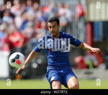 Richmond Park, Dublin, Ireland. 13th July, 2019. Pre season football friendly, St Patricks versus Chelsea; Pedro of Chelsea FC takes control of the ball Credit: Action Plus Sports/Alamy Live News - Stock Photo