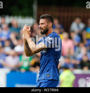 Richmond Park, Dublin, Ireland. 13th July, 2019. Pre season football friendly, St Patricks versus Chelsea; Oliver Giroud of Chelsea FC shows his appreciation to the supporters Credit: Action Plus Sports/Alamy Live News - Stock Photo
