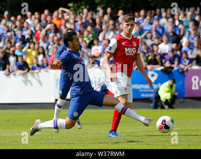 Richmond Park, Dublin, Ireland. 13th July, 2019. Pre season football friendly, St Patricks versus Chelsea; Pedro of Chelsea FC takes a shot on goal Credit: Action Plus Sports/Alamy Live News - Stock Photo