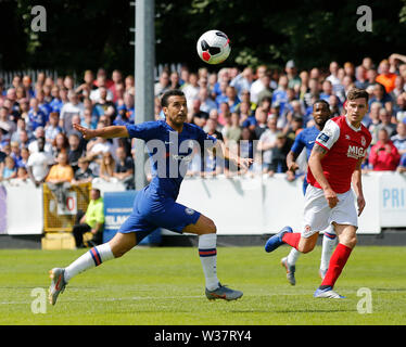 Richmond Park, Dublin, Ireland. 13th July, 2019. Pre season football friendly, St Patricks versus Chelsea; Pedro of Chelsea FC keeps his eye on the ball Credit: Action Plus Sports/Alamy Live News - Stock Photo