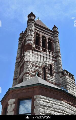 Views around Harvard University featuring Harvard Square, Harvard Yard, and Radcliffe in Cambridge, Massachusetts - Stock Photo