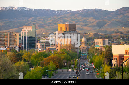 Downtown city center of Boise Idaho framed by Schafer Butte - Stock Photo