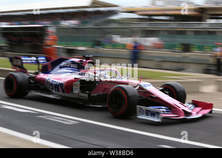 Silverstone Circuit. Northampton, UK. 13th July, 2019. FIA Formula 1 Grand Prix of Britain, Qualification Day; SportPesa Racing Point, Sergio Perez Credit: Action Plus Sports/Alamy Live News - Stock Photo