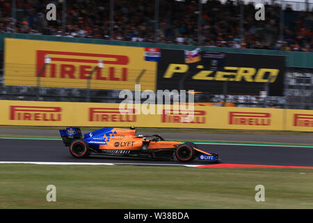 Silverstone Circuit. Northampton, UK. 13th July, 2019. FIA Formula 1 Grand Prix of Britain, Qualification Day; McLaren, Lando Norris Credit: Action Plus Sports/Alamy Live News - Stock Photo