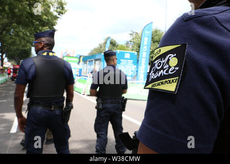 Macon to Saint-Etienne, France. 13th July 2019. 13th July 2019, Macon to Saint-Etienne, France; Tour de France cycling tour, stage 8; Armed Police patrol at Tour de France Credit: Action Plus Sports Images/Alamy Live News - Stock Photo