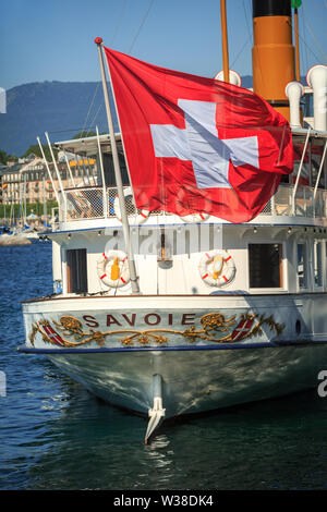 Detailed view of the steamer paddle Le Savoie - Stock Photo