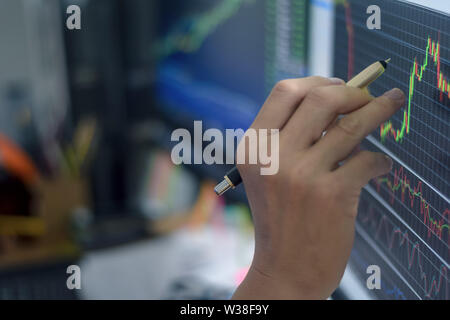 financial stock market candlestick graph chart investment trading stock exchange trading with hand man point on market screen at night time - Stock Photo