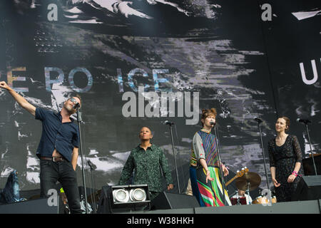 London, UK. 13th July, 2019. The National performs at Barclaycard present British Summer Time at Hyde Park. Credit: Michael Tubi/Alamy Live News - Stock Photo