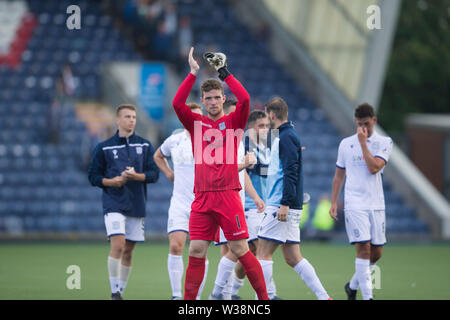 Starks Park, Kirkcaldy, UK. 13th July, 2019. Scottish League Cup football, Raith Rovers versus Dundee; Jack Hamilton of Dundee applauds the fans at the end of the match Credit: Action Plus Sports/Alamy Live News - Stock Photo