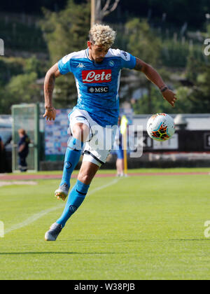 Stadium Carciato, Dimaro, Italy. 13th July, 2019. Pre-season football freindly, Napoli versus Benevento; Kevin Malcuit of Napoli controls the high ball Credit: Action Plus Sports/Alamy Live News - Stock Photo