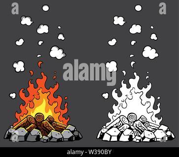 Campfire Cartoon Set - Stock Photo