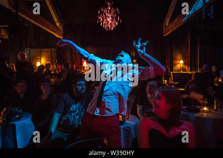 London, UK. 13th July, 2019. Abnormalik performs at VampFest 'Children of the Night' cabaret and burlesque show at The Birdcage Cabaret venue in Camden. Part of the annual International Vampire Film and Arts Festival (IVFAF). Credit: Guy Corbishley/Alamy Live News - Stock Photo
