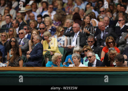 London, UK. 13th July, 2019. LONDON, ENGLAND - JULY 13: Thresa May attend the Women's Singles Final of the Wimbledon Tennis Championships at All England Lawn Tennis and Croquet Club on July 13, 2019 in London, England People: Thresa May Credit: Storms Media Group/Alamy Live News - Stock Photo