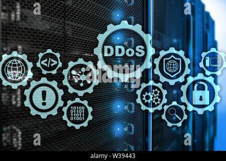 DDoS Cyber Attack. Technology, Internet and Protection Network concept. Server datacenter background - Stock Photo
