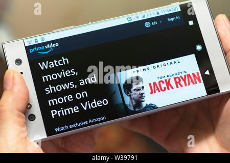 Amazon Prime Video, Movies streaming, Shows Website, Site screen on Android Smartphone Mobile Phone - Stock Photo