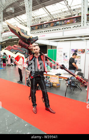 London, UK. 13th July, 2019. Hyper Japan Festival 2019 - Day 2 features shopping, entertainment, cosplay, fashion and food from Japan on 13 July 2019, Olympia London, UK. Credit: Quan Van/Alamy Live News - Stock Photo