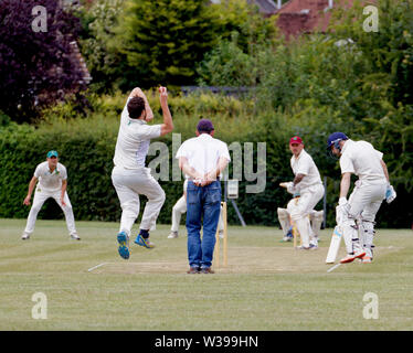 Fast bowler, batsman, fielders and umpire playing village cricket - Stock Photo