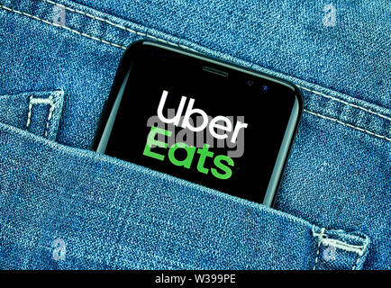 MONTREAL, CANADA - December 23, 2018: Ubear eats android app on Samsung s8 screen. Uber Eats is a American online food ordering and delivery platform - Stock Photo