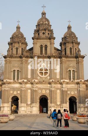 St Joseph's Church, Wangfujing Cathedral, in Wangfujing Street, Beijing, China. Wangfujing is a shopping street in Beijing. Wangfujing Church Beijing. - Stock Photo