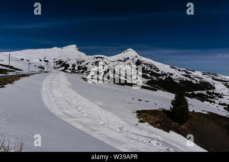 A stunning view of Alpine mountain range and glacier in Switzerland - Stock Photo