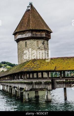 Historic wooden Chapel bridge in Lucerne, Switzerland