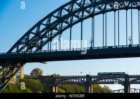 Newcastle, United Kingdom - April 29, 2019: View of sections of  Tyne Bridge and High Level Bridge in the distance in Newcastle upon tyne, England
