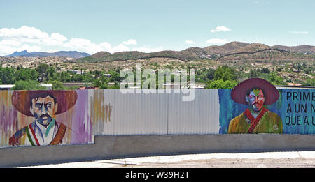 mural of mexican generals Zapata and Pancha Via near border in Nogales usa - Stock Photo