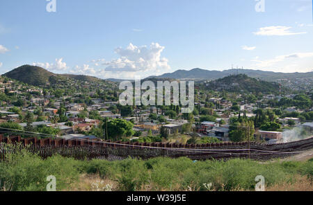 border fence east of nogales mexico - Stock Photo