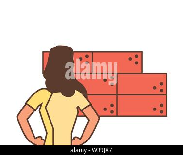 worker construction woman with bricks vector illustration design - Stock Photo